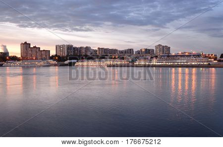 Passenger River Port and Neva River at evening on the outskirts of St. Petersburg Russia.