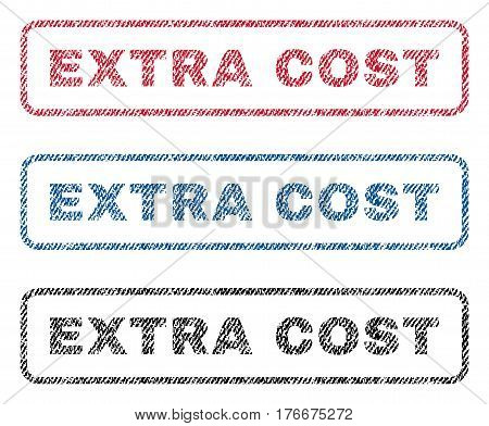 Extra Cost text textile seal stamp watermarks. Blue, red, black fabric vectorized texture. Vector caption inside rounded rectangular shape. Rubber sticker with fiber textile structure.