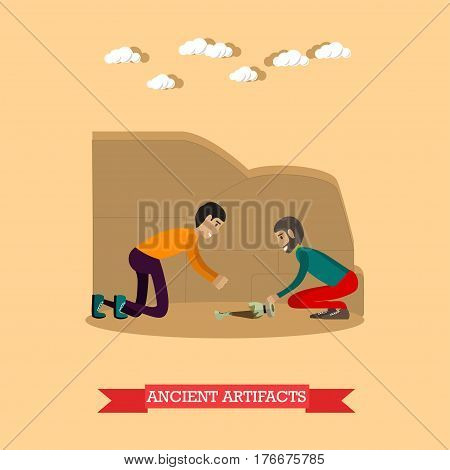 Vector illustration of archaeologists working at archaeological site. Remains of vase. Ancient artifacts concept design element in flat style.
