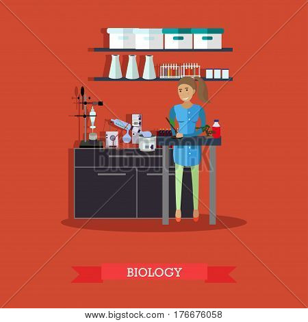 Biology concept vector illustration in flat style. Biological lab interior with laboratory glassware and equipment. Biologist female carrying out experiment.