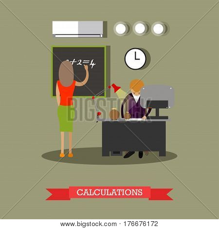 Vector illustration of archaeological laboratory interior and archaeologists male and female working at lab. Archaeological calculations concept design element in flat style.