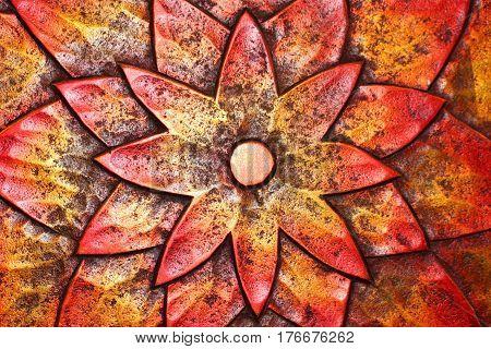 Closeup of Shiny Garden Art Metal Flower