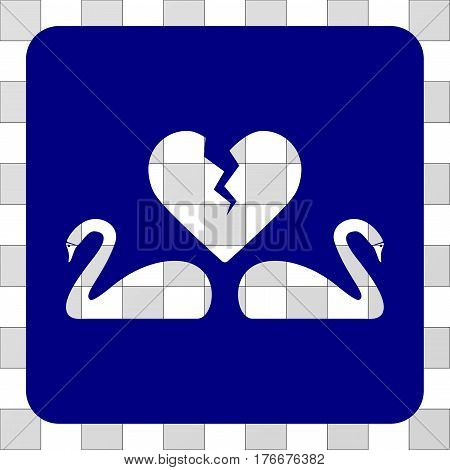 Divorce Swans square icon. Vector pictogram style is a flat symbol perforation centered in a rounded square shape, navy blue color.