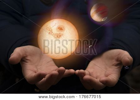 The Vast Universe In The Hands Of A Child. Elements Of This Image Furnished By Nasa.