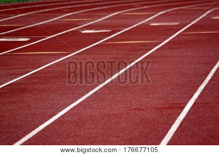 Closeup of a Red Running Track with White  Stripes