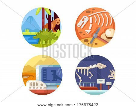 Archeology set of icons. Search and study of remains ancient dinosaurs. Vector illustration. Pixel perfect icons size - 128 px
