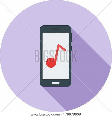 Music, mobile, app icon vector image. Can also be used for smartphone. Suitable for mobile apps, web apps and print media.