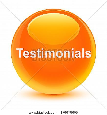 Testimonials Glassy Orange Round Button