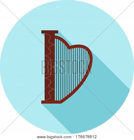 Instrument, musical, harp icon vector image. Can also be used for museum. Suitable for mobile apps, web apps and print media.