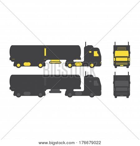 Silhouette Of A Truck With A Tank Truck For Transportation Of Liquids Side View. Isolated On White B