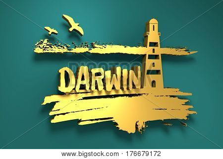 Lighthouse on brush stroke seashore. Clouds line with birds. 3D rendering. Darwin city name text. Metallic material