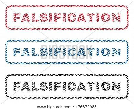 Falsification text textile seal stamp watermarks. Blue, red, black fabric vectorized texture. Vector tag inside rounded rectangular shape. Rubber sticker with fiber textile structure.