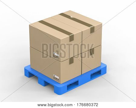 Cardboard Boxes On Plastic Pallet