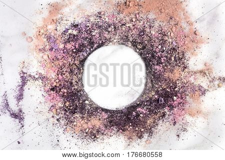 Traces of pink and purple powder and blush forming a frame. A horizontal template for a makeup artist's business card or flyer design, with copy space
