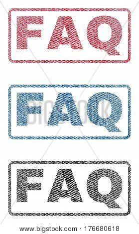 FAQ text textile seal stamp watermarks. Blue, red, black fabric vectorized texture. Vector tag inside rounded rectangular banner. Rubber emblem with fiber textile structure.