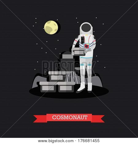 Vector illustration of cosmonaut standing on surface of planet. Space explorer concept design element in flat style.