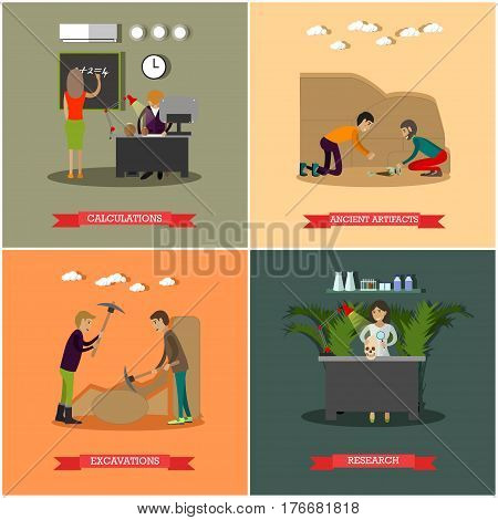 Vector set of archaeological excavations concept posters. Calculations, Ancient artifacts, Excavations and Research design elements in flat style