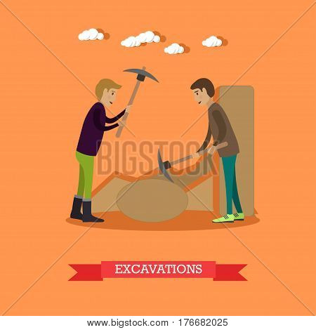 Vector illustration of archaeologists working at archaeological site. Excavations concept design element in flat style.