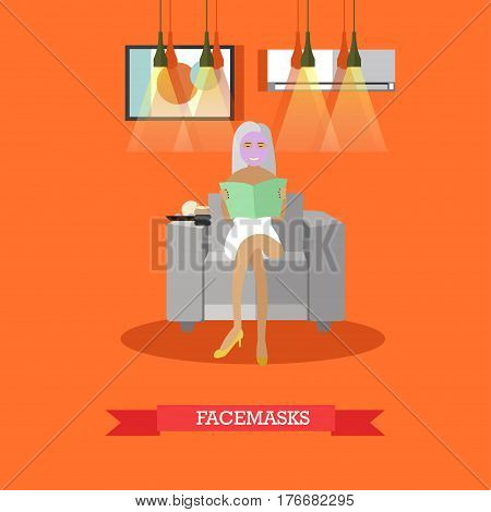 Vector illustration of young woman enjoying cosmetic facial treatment. Spa services, facemasks concept design elements in flat style.