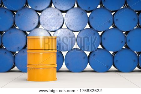 Yellow Barrel With Blue Barrels Background