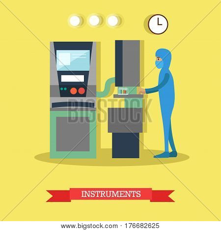 Vector illustration of biologist or chemist in protective mask and overall working with toxic and harmful substances. Laboratory instruments concept design element in flat style.