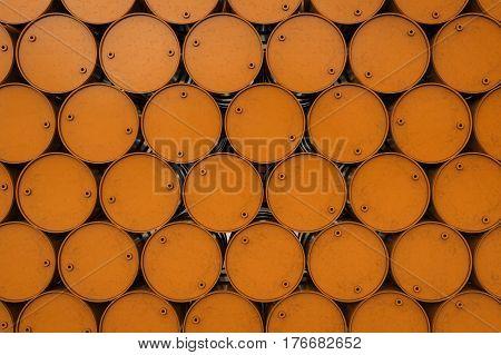 3d rendering orange barrel or galloon background