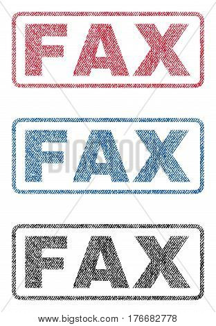 Fax text textile seal stamp watermarks. Blue, red, black fabric vectorized texture. Vector caption inside rounded rectangular banner. Rubber sign with fiber textile structure.