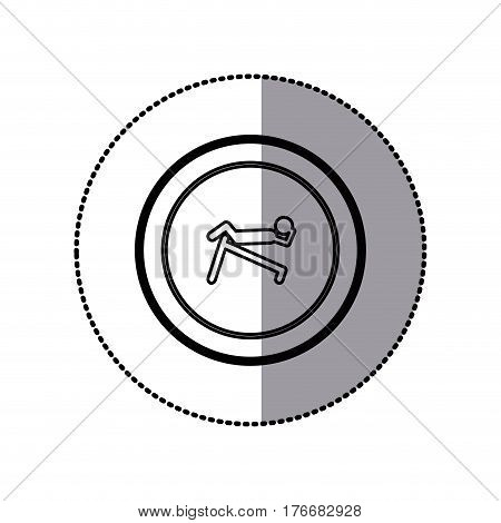 sticker of monochrome contour pictogram with abdominal training on inclined bar in circular frame vector illustration