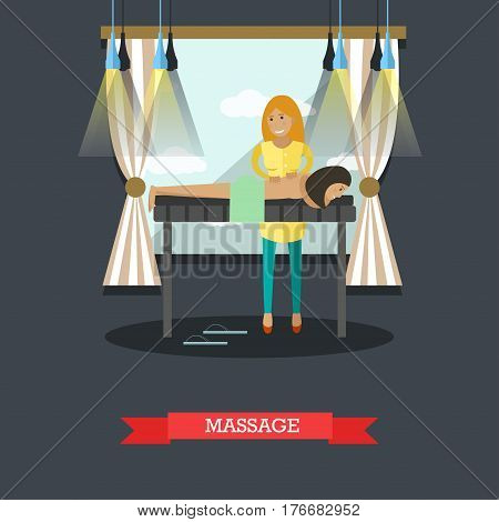 Vector illustration of woman enjoying relaxation massage. Spa services concept design element in flat style.