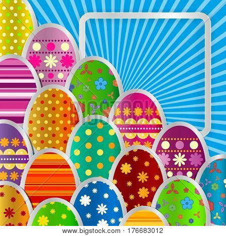 Spring greeting background with Easter eggs. Festive paper images of eggs on a square light frame. Light blue rays on a blue background. Greetings card with the Happy Easter!