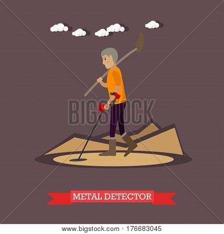 Vector illustration of archaeologist working at archaeological site. Metal detector concept design element in flat style.