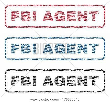 FBI Agent text textile seal stamp watermarks. Blue, red, black fabric vectorized texture. Vector caption inside rounded rectangular shape. Rubber sign with fiber textile structure.