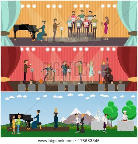 Vector set of orchestra concept posters, banners. Musicians playing music and singing on stage of concert hall and outdoors design elements in flat style.