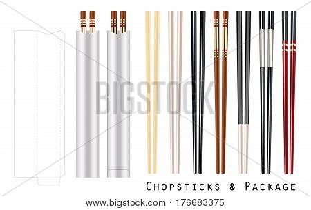 real chopstick with package on a white background
