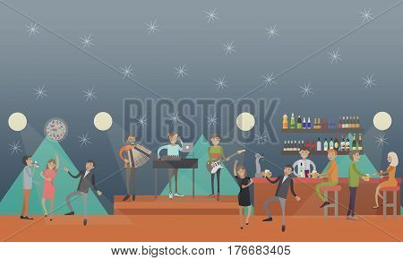Party club vector illustration. People dancing to live music and having fun concept design element in flat style.
