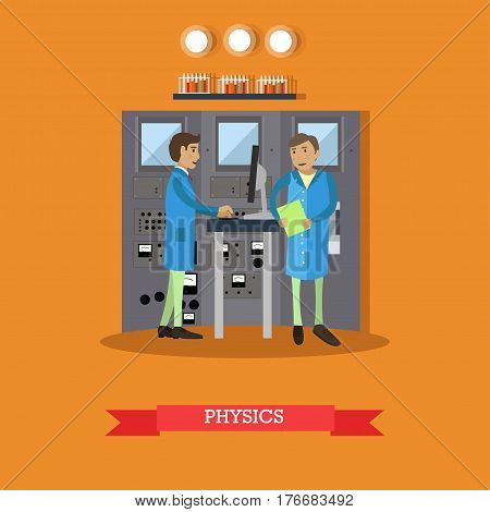 Physics research concept vector illustration in flat style. Physicists males carrying out experiment. laboratory interior with glassware and equipment.