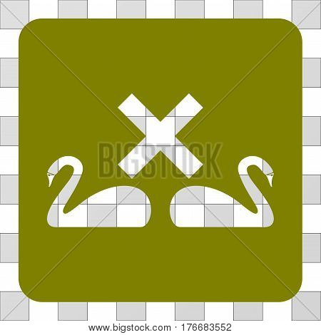 Divorce Swans square icon. Vector pictogram style is a flat symbol hole in a rounded square shape, olive color.