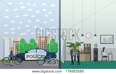 Vector illustration of police station interior and staff, parking lot and cycle stand. Flat style design.