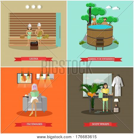 Vector set of spa procedures concept posters, banners. Sauna, Barrel for swimming, Facemasks and Body wraps design elements in flat style.