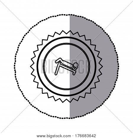 sticker of monochrome circular frame with contour sawtooth of pictogram with abdominal training on inclined bar vector illustration