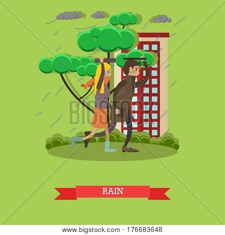 Wet, rainy weather concept vector illustration. Young couple running away from heavy rain. Torrential rain flat style design.