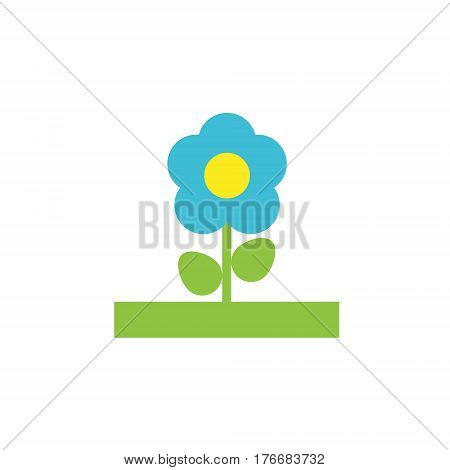 Vector icon or illustration showing botanical with flower in material design style