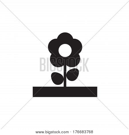 Vector icon or illustration showing botanical with flower in one color