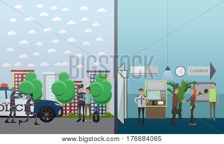 Vector illustration of special forces and policeman catching bank robber female. Robber caught concept design element in flat style