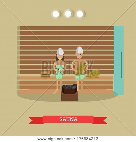 Vector illustration of young couple enjoying steam sauna. Spa procedures concept design element in flat style.