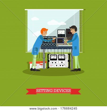 Setting devices concept vector illustration. Two scientists, engineers or technicians working with measuring devices, physical laboratory interior design elements in flat style.