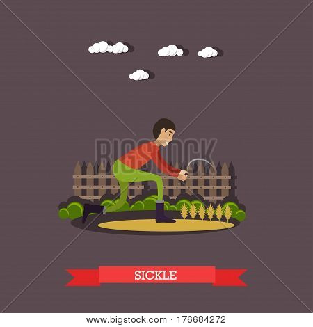Vector illustration of farm worker reaping grain crops or cutting dried forage with sickle in flat style.