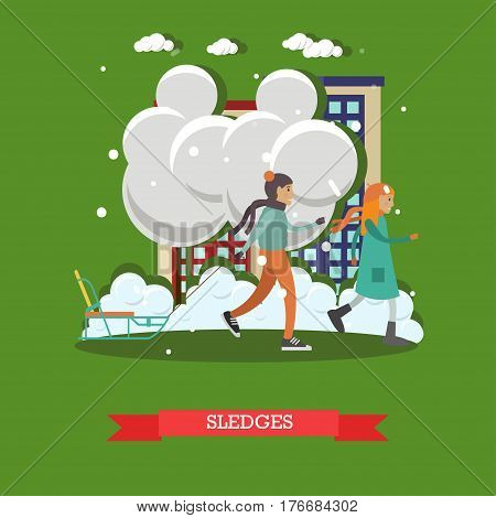 Vector illustration of children boy and girl with sledge. Winter snowy weather, snowfall, sledging concept design element in flat style.