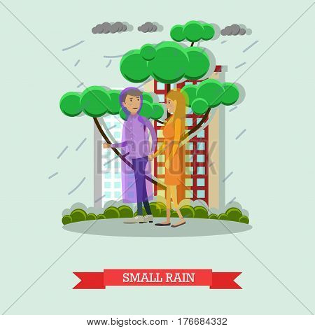 Vector illustration of young couple walking in the rain in raincoats. Small rain flat style design.