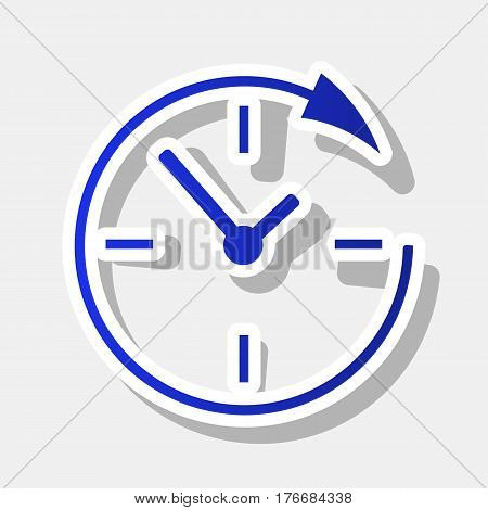 Service and support for customers around the clock and 24 hours. Vector. New year bluish icon with outside stroke and gray shadow on light gray background.